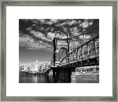 The Suspension Bridge Bw Framed Print