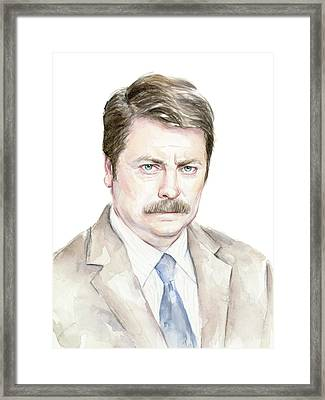 Ron Swanson Watercolor Portrait Framed Print by Olga Shvartsur