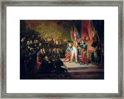 The Swearing-in Of Louis-philippe 1773-1850 9th August 1830 Oil On Canvas Framed Print