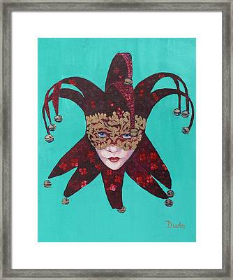 The Sweetheart Of Arlecchino Colombina Venitian Mask Framed Print by Susan Duda