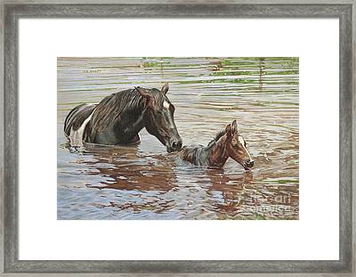 The Swimming Lesson Framed Print by Helen Bailey