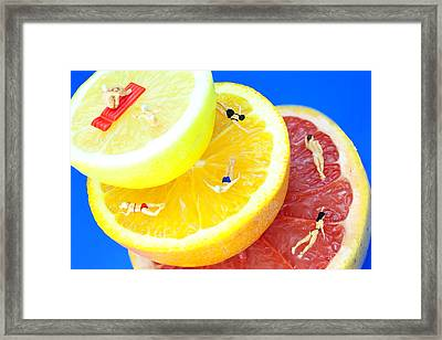 The Swimming Pool Little People On Food Framed Print