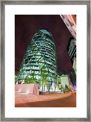 The Swiss Re Tower At Night Framed Print by Ashley Cooper