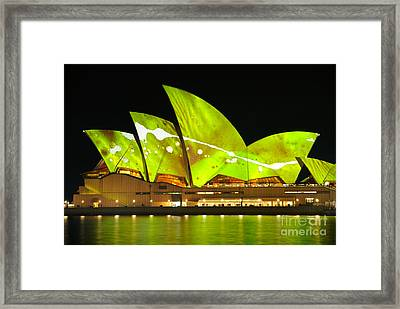 The Sydney Opera House In Vivid Green Framed Print by David Hill