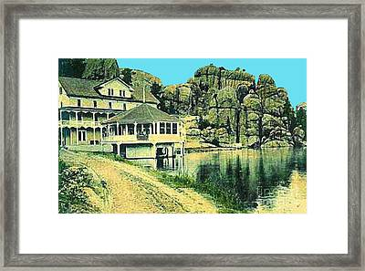 The Sylvan Lake Hotel In Ouster Sd C.1910 Framed Print by Dwight Goss