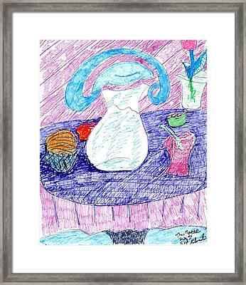The Table Framed Print by Elinor Rakowski