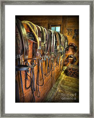 The Tack Room - Equestrian Framed Print by Lee Dos Santos