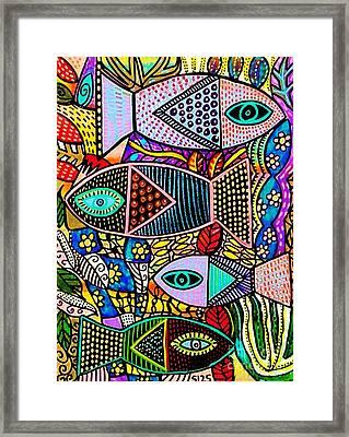 The Talavera Sea Framed Print by Sandra Silberzweig