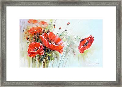 The Talk Of The Poppies Framed Print by Petrica Sincu