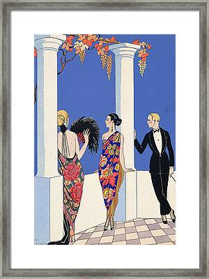 The Taste Of Shawls Framed Print by Georges Barbier