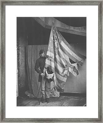 The Tattered Flag Of The Union Framed Print by Celestial Images