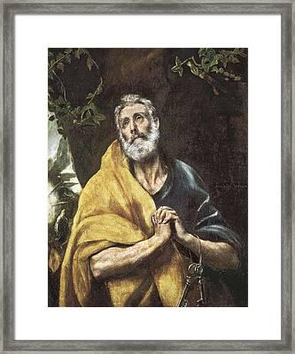 The Tears Of Saint Peter. Ca. 1594 - Framed Print