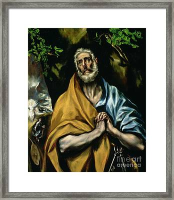 The Tears Of St Peter Framed Print by El Greco Domenico Theotocopuli