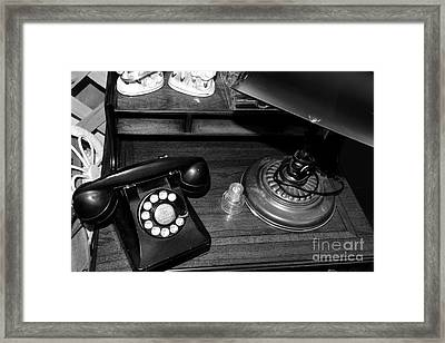The Telephone Table - Black And White Framed Print by Paul Ward