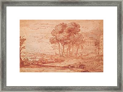 The Temple Of Apollo On The Island Of Delos, C.1648 Pen, Wash & Bistre Ink Framed Print by Claude Lorrain