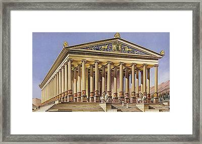 The Temple Of Artemis Colour Litho Framed Print by English School