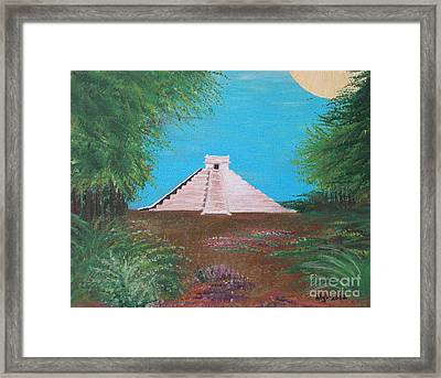 Framed Print featuring the painting The Temple Of Kukulcan by Alys Caviness-Gober