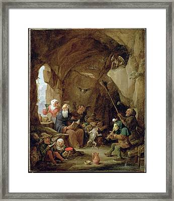 The Temptation Of St. Anthony In A Rocky Cavern Oil On Canvas Framed Print by David the Younger Teniers