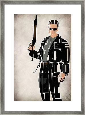 The Terminator - Arnold Schwarzenegger Framed Print by Ayse Deniz