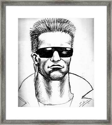 Framed Print featuring the painting Arnold Schwarzenegger by Salman Ravish