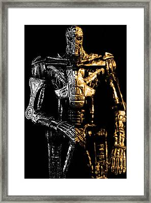 The Terminator Silver And Gold Framed Print by Tommytechno Sweden