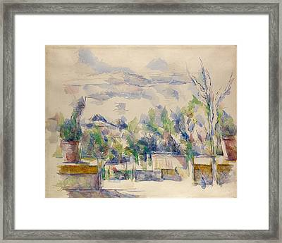 The Terrace At The Garden At Les Lauves Framed Print by Paul Cezanne
