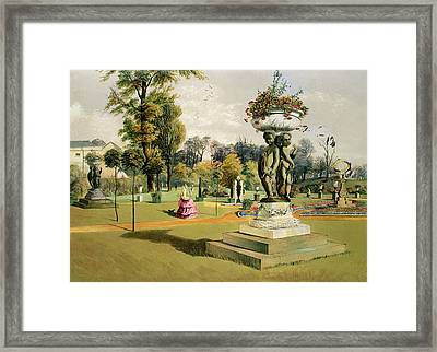 The Terrace Garden Woburn Abbey  Framed Print by E Adveno Brooke