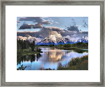 The Tetons From Oxbow Bend Framed Print by Dan Sproul