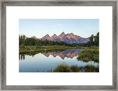 The Tetons Reflected On Schwabachers Landing - Grand Teton National Park Wyoming Framed Print