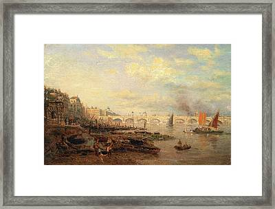 The Thames And Waterloo Bridge From Somerset House Framed Print by Litz Collection
