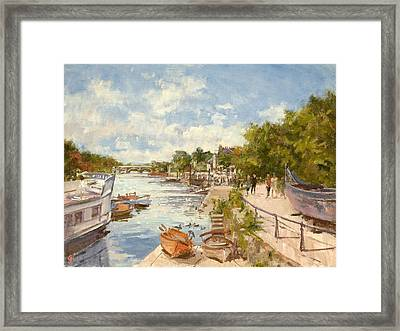 The Thames At Richmond, 2012 Oil On Canvas Framed Print