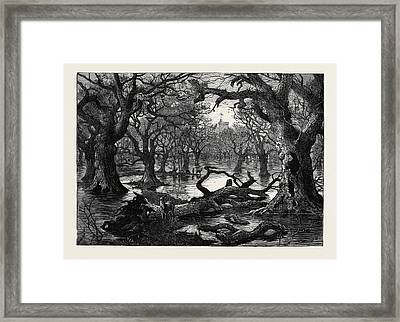 The Thames Floods Scene In The Home Park Windsor 1879 Framed Print