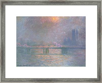 The Thames With Charing Cross Bridge Framed Print by Claude Monet