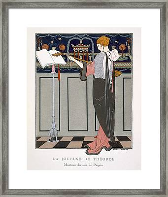 The Theorbo Player Framed Print by Georges Barbier