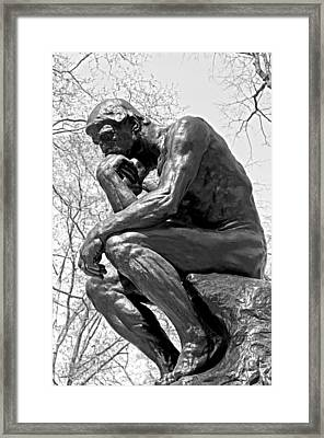 The Thinker In Black And White Framed Print