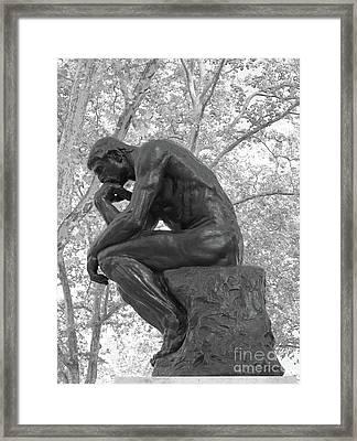 The Thinker - Philadelphia Bw Framed Print