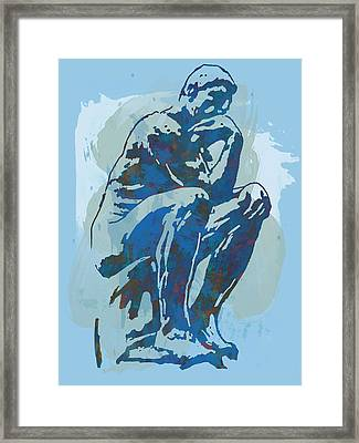 The Thinker - Rodin Stylized Pop Art Poster Framed Print