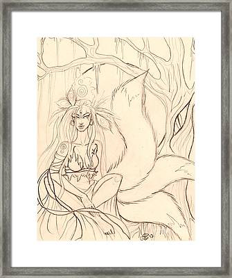 The Thinking Tree Sketch Framed Print by Coriander  Shea