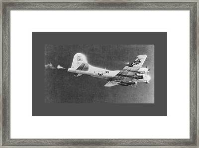 The Thomper B 17 During Fierce Aerial Combat Ww II Large Border Framed Print