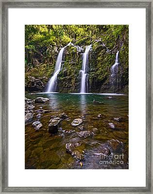 The Three Bears - The Stunningly Beautiful Upper Waikani Falls. Framed Print by Jamie Pham