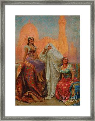 The Three Beauties Standing Before Al Rifai Mosque Framed Print by Celestial Images