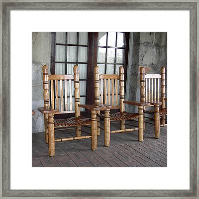 The Three Chairs Framed Print by Denyse Duhaime