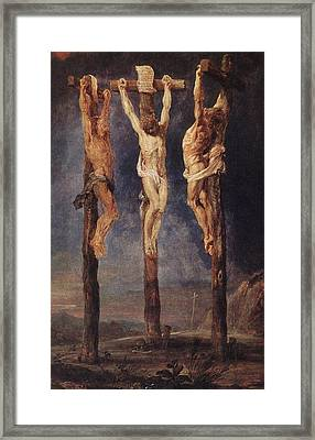 The Three Crosses Framed Print by Peter Paul Rubens