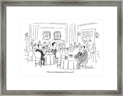 The Three-martini Lunch Looks Good Framed Print by Arnie Levin