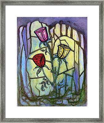 The Three Roses Framed Print by Terry Webb Harshman