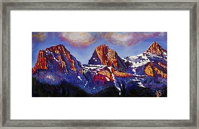 The Three Sisters Canmore Alberta Mountains Framed Print by Joyce Sherwin