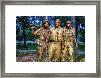 The Three Soldiers Facing The Wall Framed Print