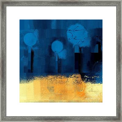 The Three Trees - J036076170-blue Framed Print by Variance Collections