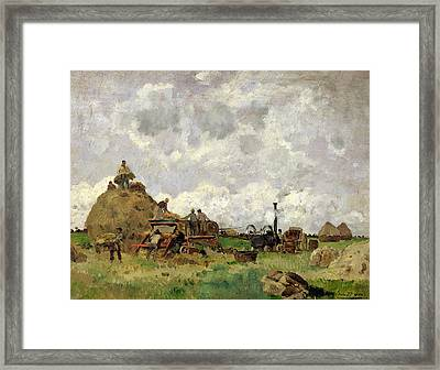 The Threshing Machine Oil On Panel Framed Print by Edmond Charles Yon