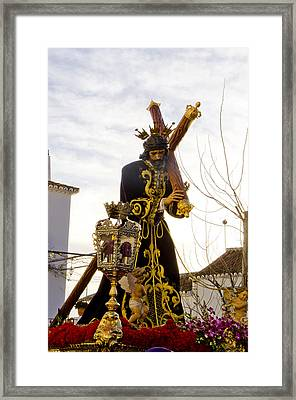 The Throne Of Christ During Holy Week Procession In Spain Framed Print by Perry Van Munster